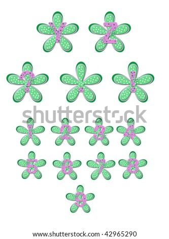 Pink alphabet letters A to L are decorated with tiny mint flowers.  Each letter sits on a polka dotted flower of the same color.