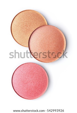Pink and beige blusher or eyeshadow isolated on white background #542993926