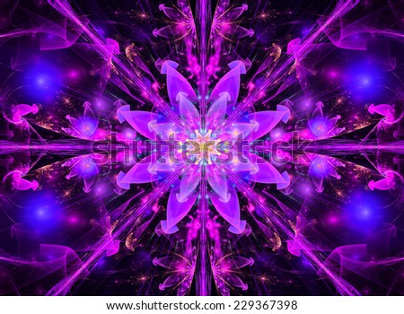 Pink And Blue Abstract High Resolution Wallpaper With A Detailed Modern Exotic Vivid Shining Flower