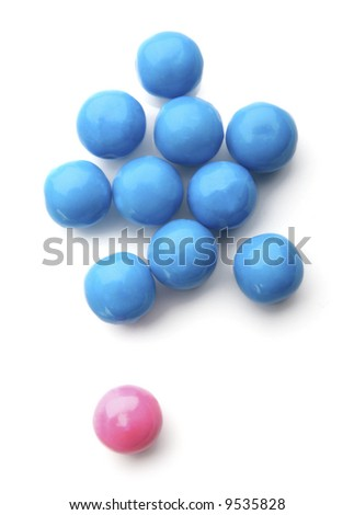 pink and blue bubble gum balls isolated on white - concept for females versus males and sex discrimination