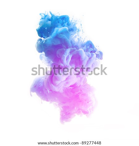 pink and blue color pigment cloud on white