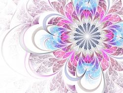 Pink and blue fractal flower pattern