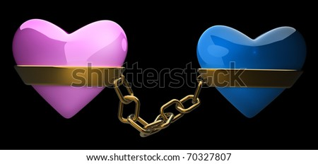 Pink and blue heart gold chain isolated on black 3d render