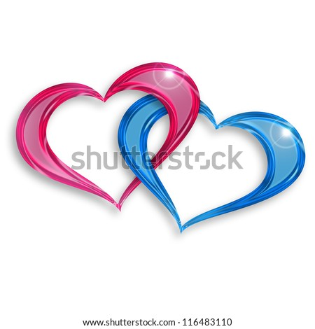 pink and blue hearts entwined on white background