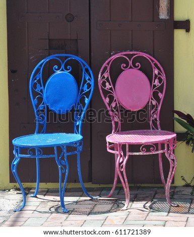Pink and Blue Ice Cream Parlor Chairs #611721389