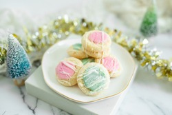 Pink and Blue Thumbprint Shortbread Cookies