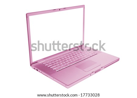 pink and fashionable laptop on a white background