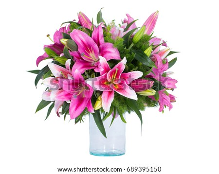 Pink and green bouquet of flowers can be made in the background.