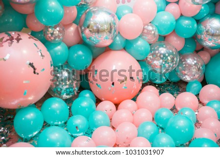 pink and mint balloons photo wall birthday decoration
