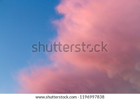 Pink and orange clouds in the sky. Burning skies above the world #1196997838