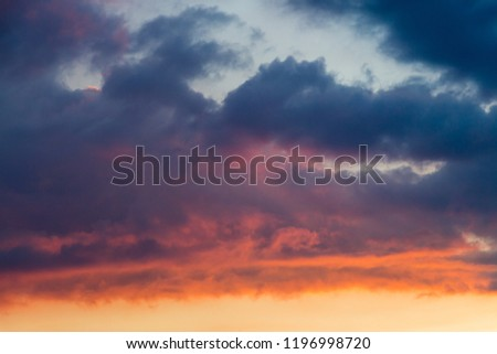 Pink and orange clouds in the sky. Burning skies above the world #1196998720