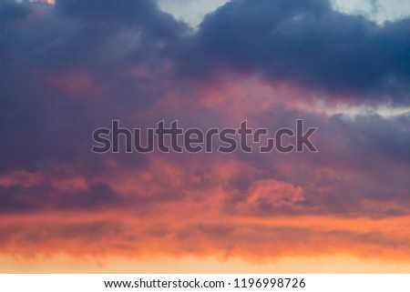 Pink and orange clouds in the sky. Burning skies above the world #1196998726