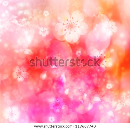 Pink and orange colored cherry blossoms background