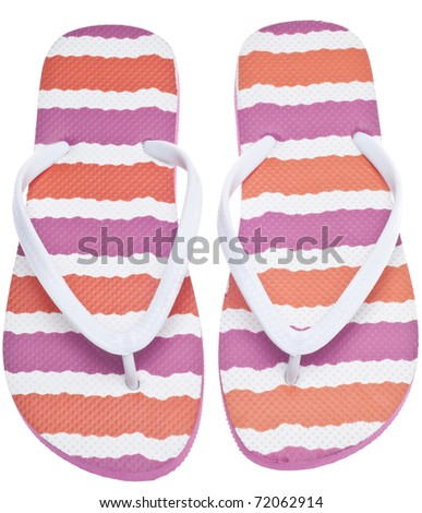 Pink and Orange Flip Flop Sandals Isolated on White with a Clipping Path.