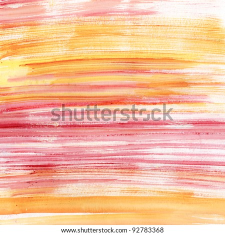 Pink and orange stripes watercolor, scanned in high resolution