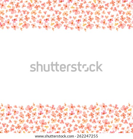 Pink And Orange Watercolor Flowers Border Top Bottom