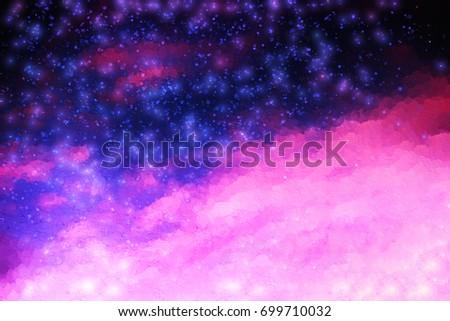 Pink and purple night stars illustration background #699710032
