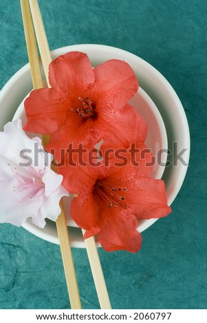 Pink and red azalea florets styled with two chinese rice bowls and chop sticks, against a turqoise textured backdrop. Intention is to show presentation, styling, health, freshness.