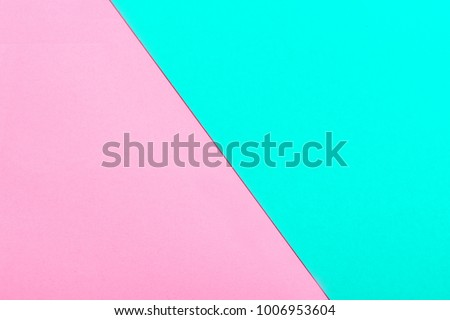 Pink and turquoise color paper texture background. Trend colors, geometric paper background. Colorful of soft paper background.