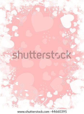 Pink and white heart background illustration with flourishes.