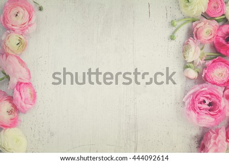 Pink and white ranunculus flowers on white wooden background flat lay scene, retro toned #444092614
