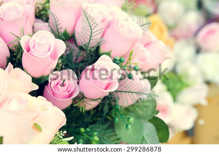 Pink and white roses background, shallow depth of field and process in vintage style