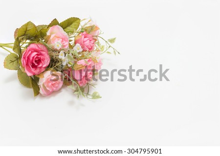 Pink and white roses background, shallow depth of field, Retro vintage, on white background.