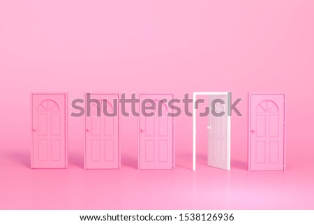 Pink and white with open and close in pink room 3d rendering. 3d illustration pastel minimal style concept. stock photo