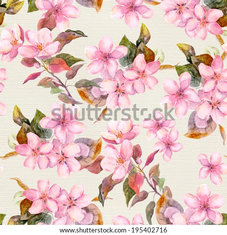 Pink apple cherry sakura blooming flowers Seamless floral tiled swatch Watercolor on paper background