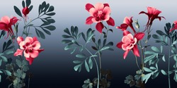 pink aquilea flowers and rough leaves in emerald tones on a degraded background in blue