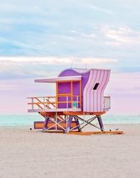 Pink art deco lifeguard stand on Miami South Beach, life guard tower, coastal landmark