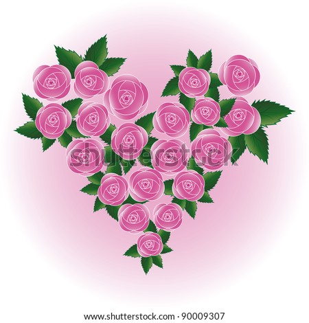 stock photo Pink art rose heart Flower wedding background
