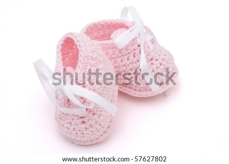 Pink Baby Booties Clipart on Photo   Pink Baby Booties Isolated On A White Background  Baby Booties