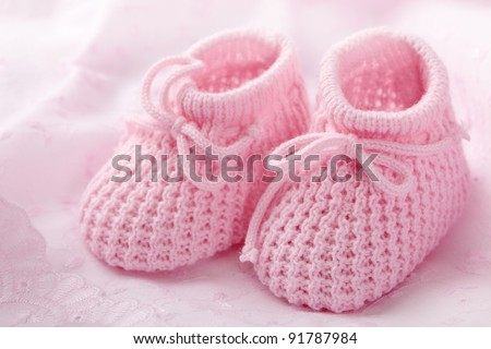 Pink Baby Booties Clipart on Pink Baby Booties On Pink Background Stock Photo 91787984