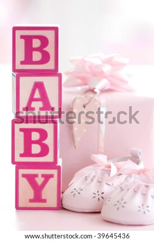 Pink baby building blocks - stock photo