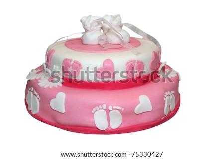 Pink baby cake isolated on white