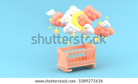 Pink baby cradle Under Clouds, moon and Stars on Blue Background.-3d render.