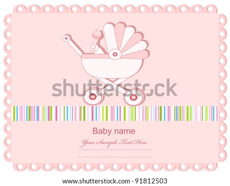 pink baby greeting card with a sidecar (JPEG version)
