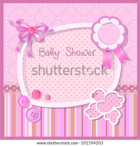Pink baby shower for girl, raster version