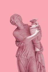 Pink background and young girl in ancient Greek sculpture holding a vase