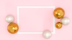 Pink background, white frame, gold and white shape spheres minimalist background, top view. Abstract frame template with space for text. Christmas cute celebration card, graphic design elements banner