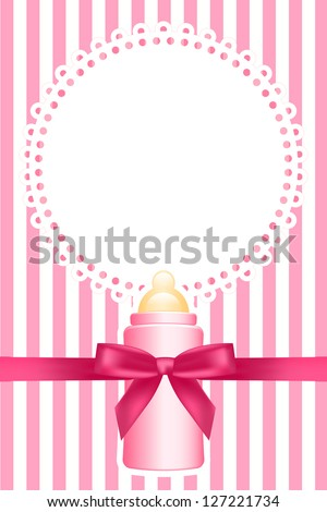 Pink background with baby bottle