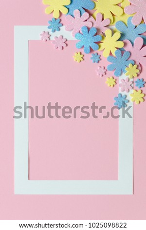 Pink Background With Colorful Flowers And Frame For Text Papercraft