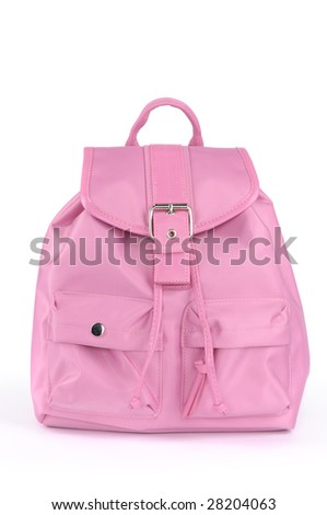 Pink backpack isolated on white background