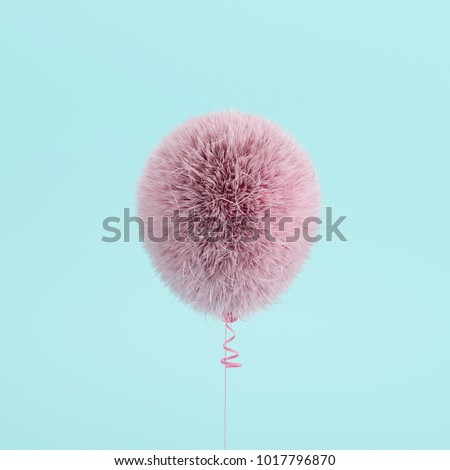 Pink Balloon Fur floating on blue background. minimal concept idea. #1017796870