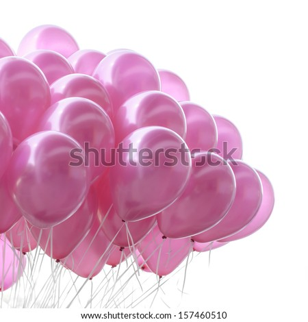 Pink balloon on white background