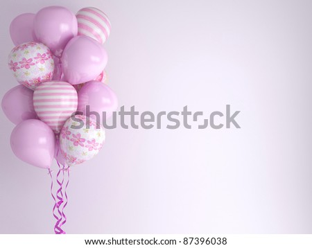 Pink balloons, background. Celebration concept. 3d render. Greeting Card.
