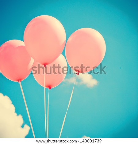 Pink Balloons on Retro Sky