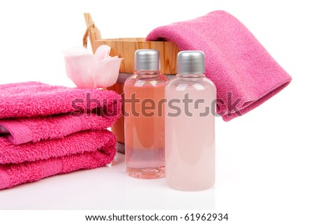 pink bath accessory for sauna or spa over white background