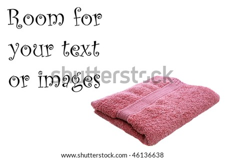 pink bath towel or wash cloth isolated on white with room for your text or images